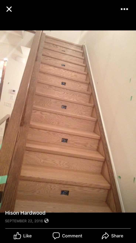 "Red oak 1 3/4"" natural hardwood stairs"
