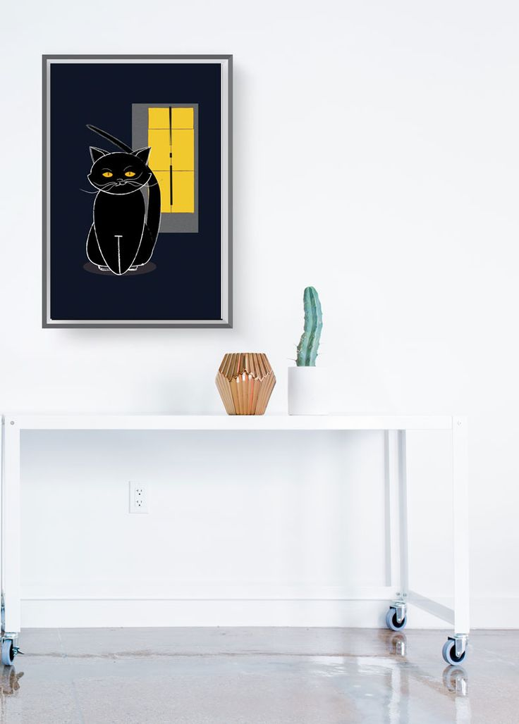 BLACK CAT: WALL DÉCOR Whenever he catches your eye, this cool tomcat will make you smile no matter what your mood is. A bonus: he never gets grumpy. FINE ART GICLEE PRINT