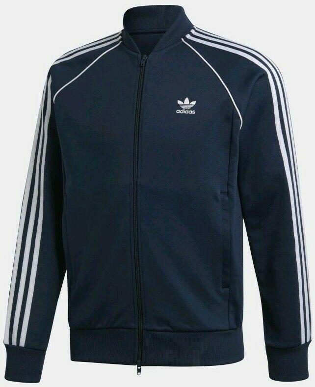 Adidas SST Track Zip Up Jacket Mens Navy Blue Size Medium