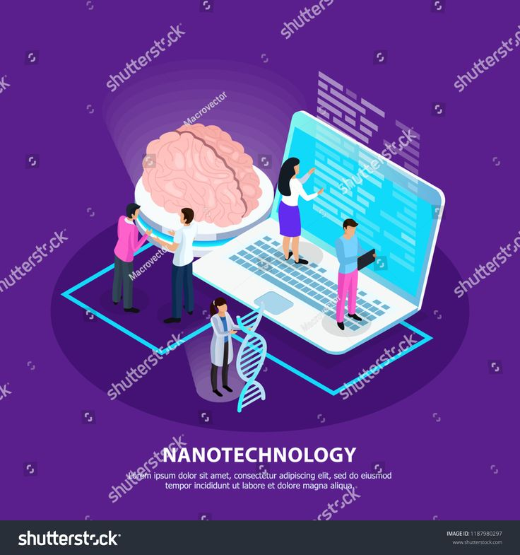 Scientists and development of nano technology for medicine on purple gradient background isometric vector illustrationtechnology#medicine#nano#Scienti…