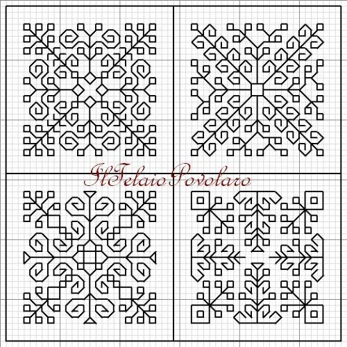 Blackwork - schemino according to the 3:04 side of the biscornu to 8 faces