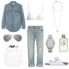 double, denim, distressed denim jeans, outfit, ray ban aviators, givenchy necklace, ck one perfume, michael kors watch, mansur gavriel, bucket bag, white birkenstocks, outfit oracle fox