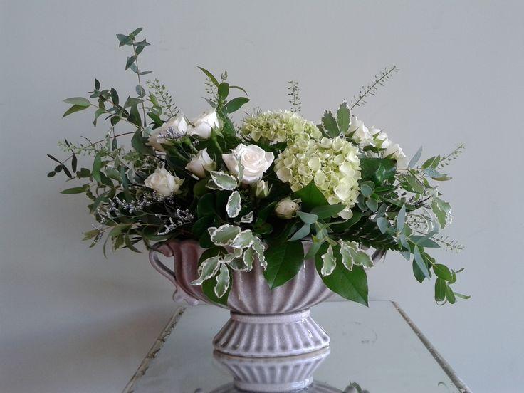 White & green Urn arrangement
