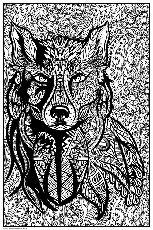 Ultimate Zen Wolf | Adult coloring pages, Free adult ...