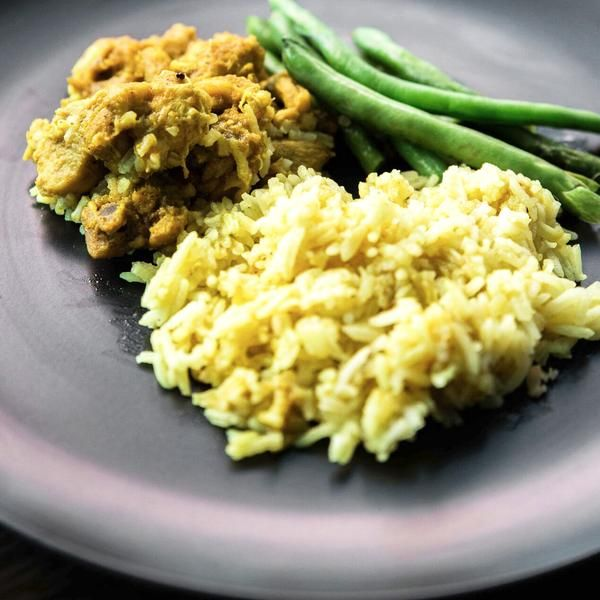 Free Range Chicken Curry basmati rice and green beans 240g