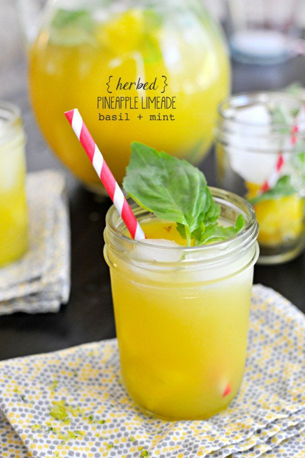 Fizzy Herbed Pineapple Limeade With Basil and Mint - non alcoholic beverage ideas