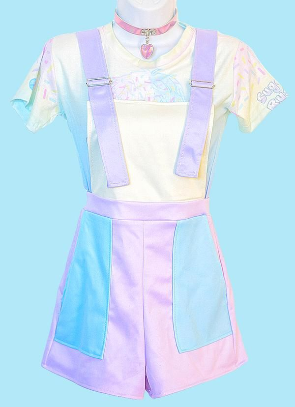 Pastel Color Block Overalls In Control Clothing Kawaii Clothes Kawaii Fashion Pastel Fashion