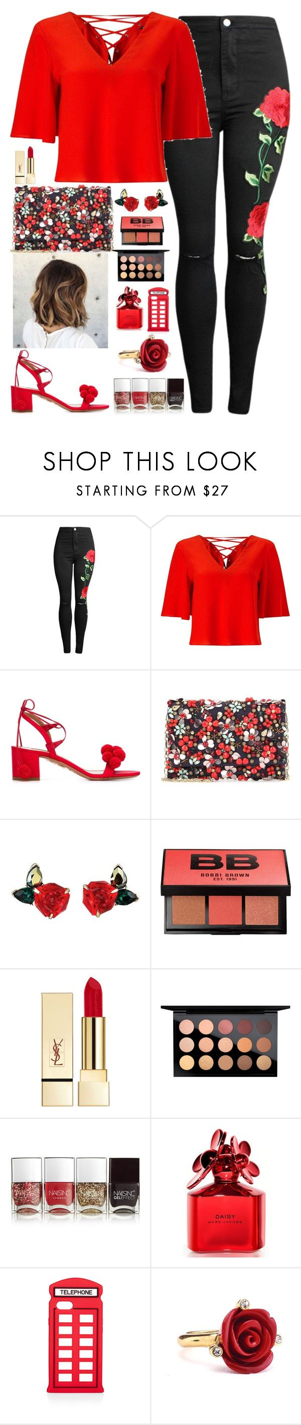 """Red Bloom"" by fabirm ❤ liked on Polyvore featuring Miss Selfridge, Aquazzura, Oscar de la Renta, Bobbi Brown Cosmetics, PUR, MAC Cosmetics, Nails Inc., Marc Jacobs and Lulu Guinness"