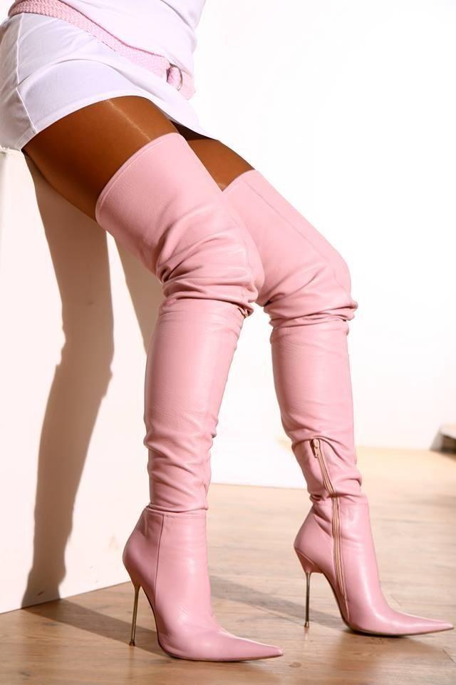 Thigh high pink boot..