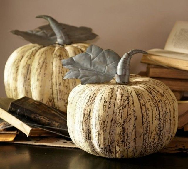 paper mache pumpkins fall decorationshalloween