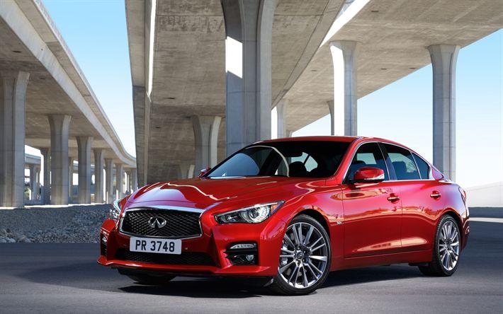 Indir duvar kağıdı Infiniti Q50, 2017, Sedan, Kırmızı Q50, spor arabalar, Japon otomobil, Infiniti