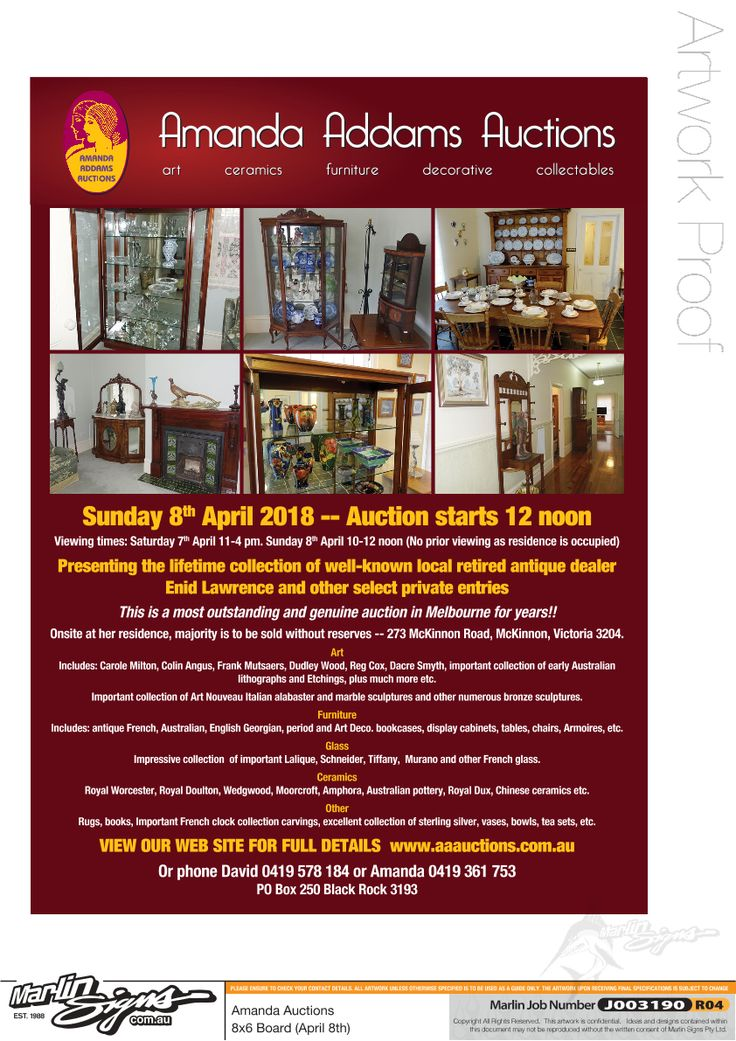 Amanda Addams Auctions, the only female run Auction Rooms in Australia see our website www.aaauctions.com.au