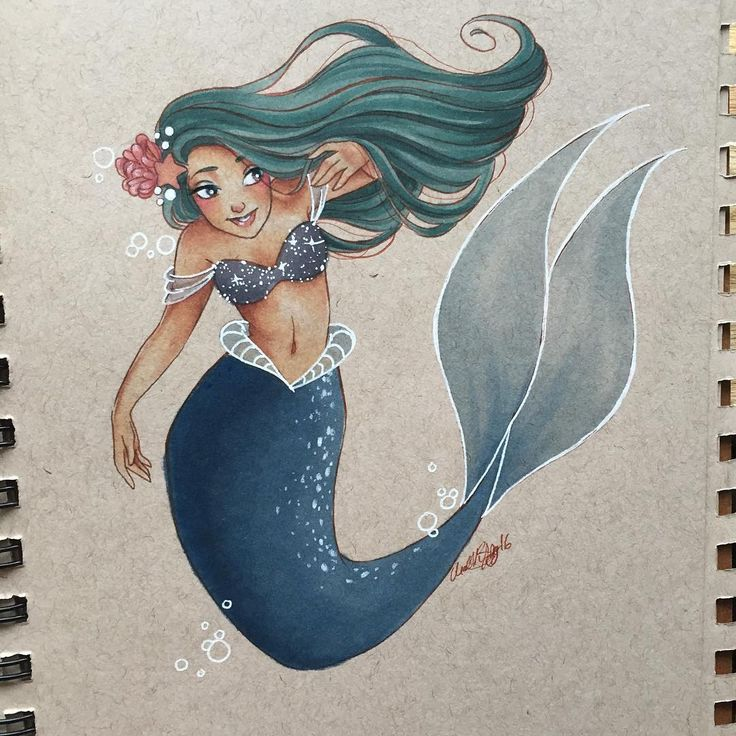 "Personal hopehokulani  (@hope.hokulani) on Instagram: ""Finished this little lady for day 15 of MerMay! She'll be going home to @skeaggy at the end of the…"""