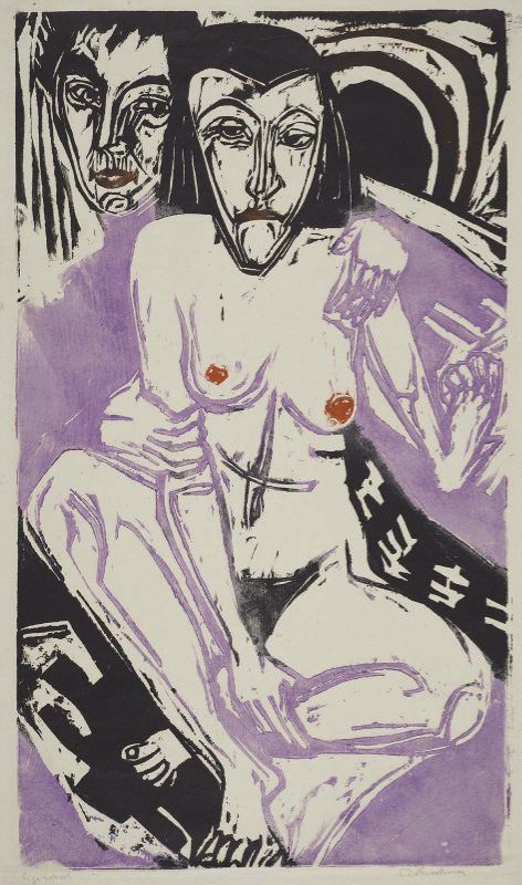 """Ernst Ludwig Kirchner, Self-Portrait with Erna, 1922. MFA, Boston.  Kirchner (1880–1938) was a German expressionist painter and printmaker and one of the founders of the artists group Die Brücke or """"The Bridge"""", a key group leading to the foundation of Expressionism in 20th-century art. He volunteered for army service in the First World War, but soon suffered a breakdown and was discharged. In 1933, his work was branded as """"degenerate"""" by the Nazis and in 1937 over 600 of"""