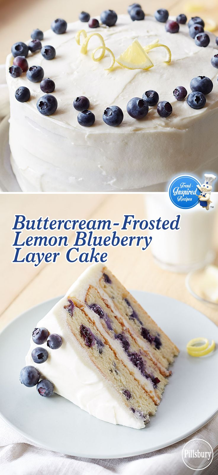 This Buttercream-Frosted Lemon Blueberry Layer Cake is made with Pillsbury™ Purely Simple™ White Cake Mix and Pillsbury Purely Simple Buttercream Frosting Mix. With sweet blueberries and tart lemon, it makes a delicious dessert.