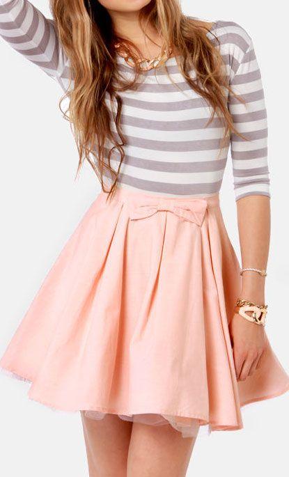 Bow peach skirt