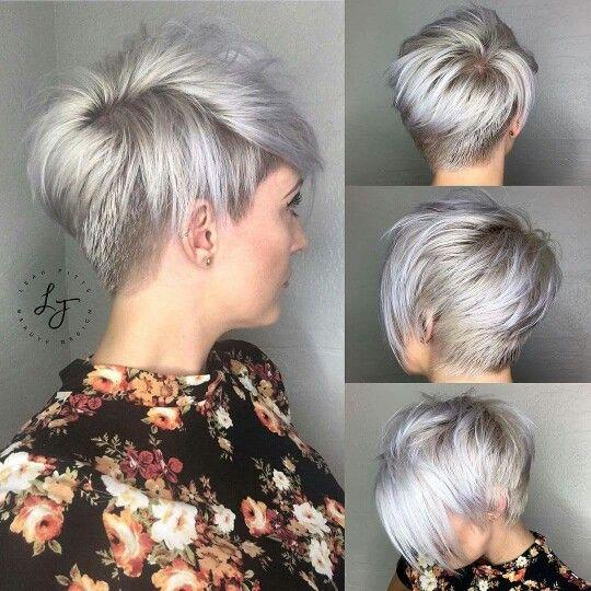 Coupe courte gris platine