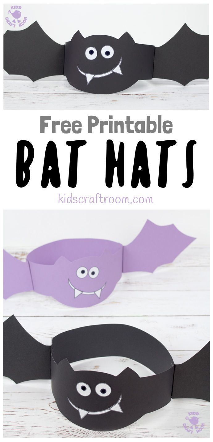 photograph regarding Free Printable Halloween Crafts named Printable Bat Hats Halloween Crafts Halloween functions