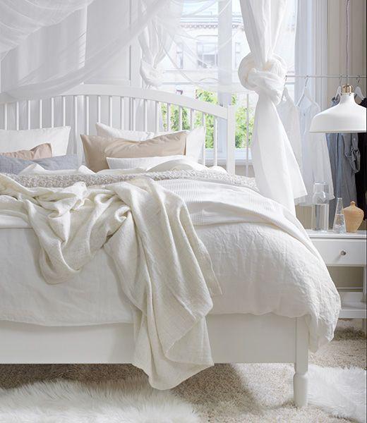 tweepersoonsbed TYSSEDALverstelbaar bedframe, wit