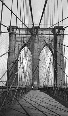 Brooklyn Bridge, Walker Evans  Walked on here June 2010..Was in the middle of a heat wave....