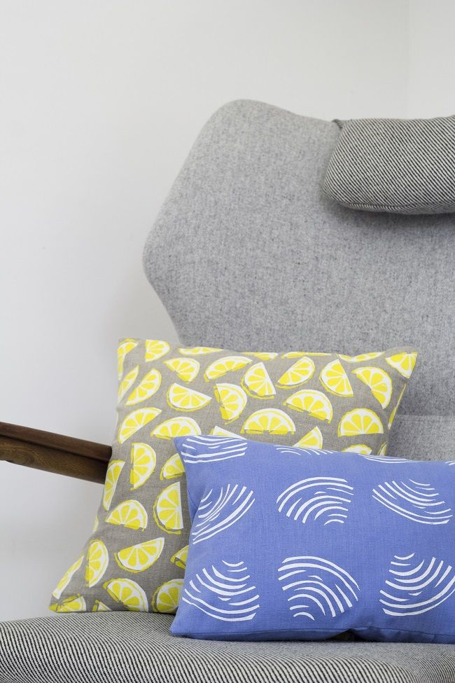 yellow and blue pillows. jenny sibthorp lemon and clam cushions