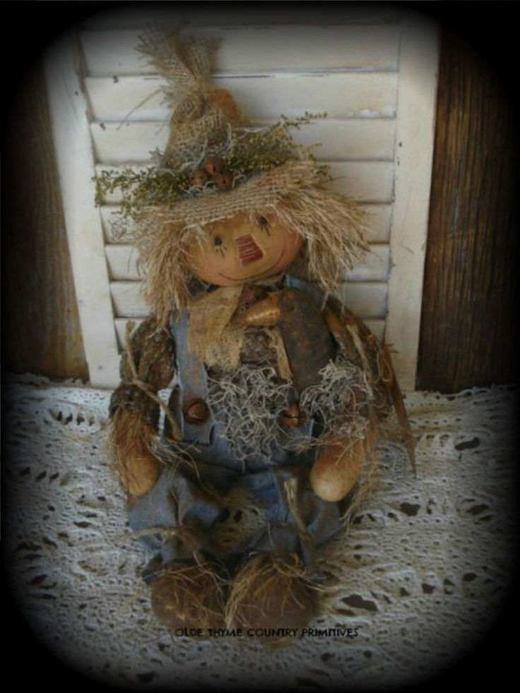 Primitive Olde Scarecrow Doll With His Olde Crow #NaivePrimitive