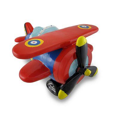 Red Blue Bi-Plane Large Piggy Bank Biplane