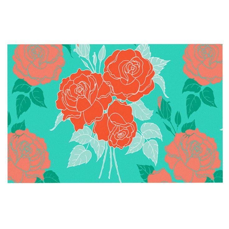 "Anneline Sophia ""Summer Rose Orange"" Teal Green Decorative Door Mat"