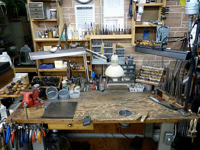 Herman Silver Restoration & Conservation: There is a duct for particulate cut into the bench. So smart.
