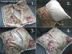 Pillow no zipper required looks like you hem edges of two pieces, put the one big piece and two rectangular pieces right sides together with the trim toward the inside, stitch all around and pull inside out. Voila. Same idea with travel tissue holders but smaller.