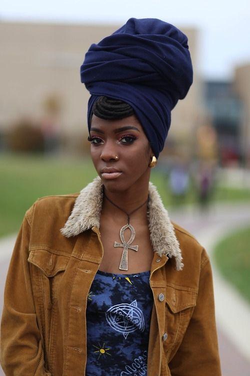 Beautiful Black Head Wrap - African style!