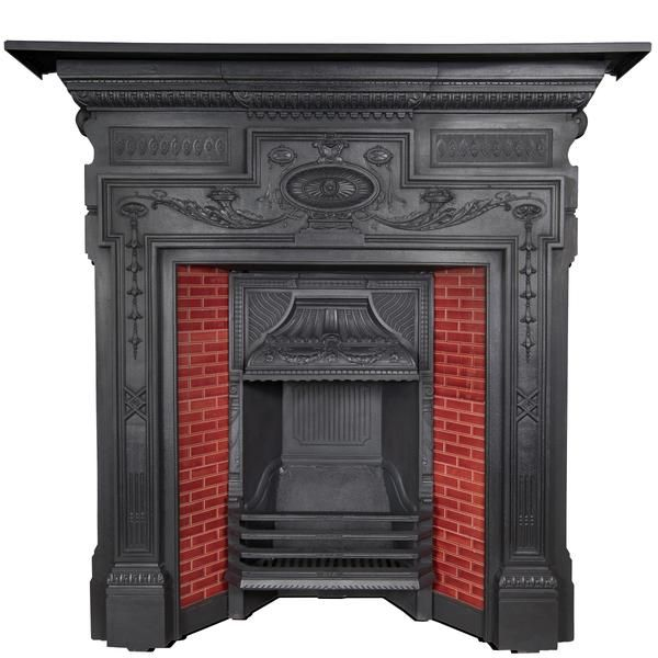 An Antique Victorian Fireplace Insert In Cast Iron With Red Tiles