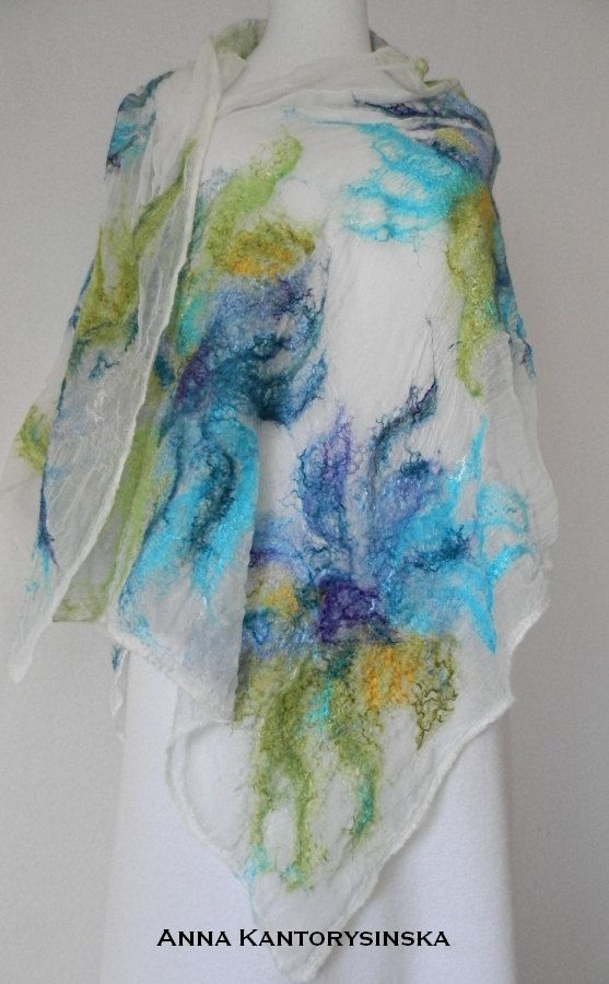 nuno felted silk scarf shawl wrap LIME handmade by kantorysinska, $99.00