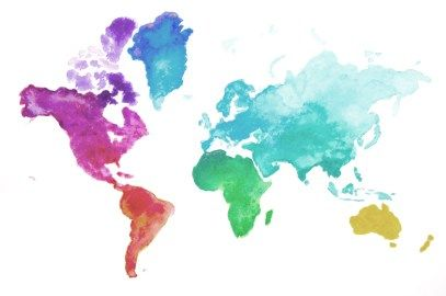 Detailed tutorial how to create fast and easy watercolor world map (DIY)! With free printable outline.