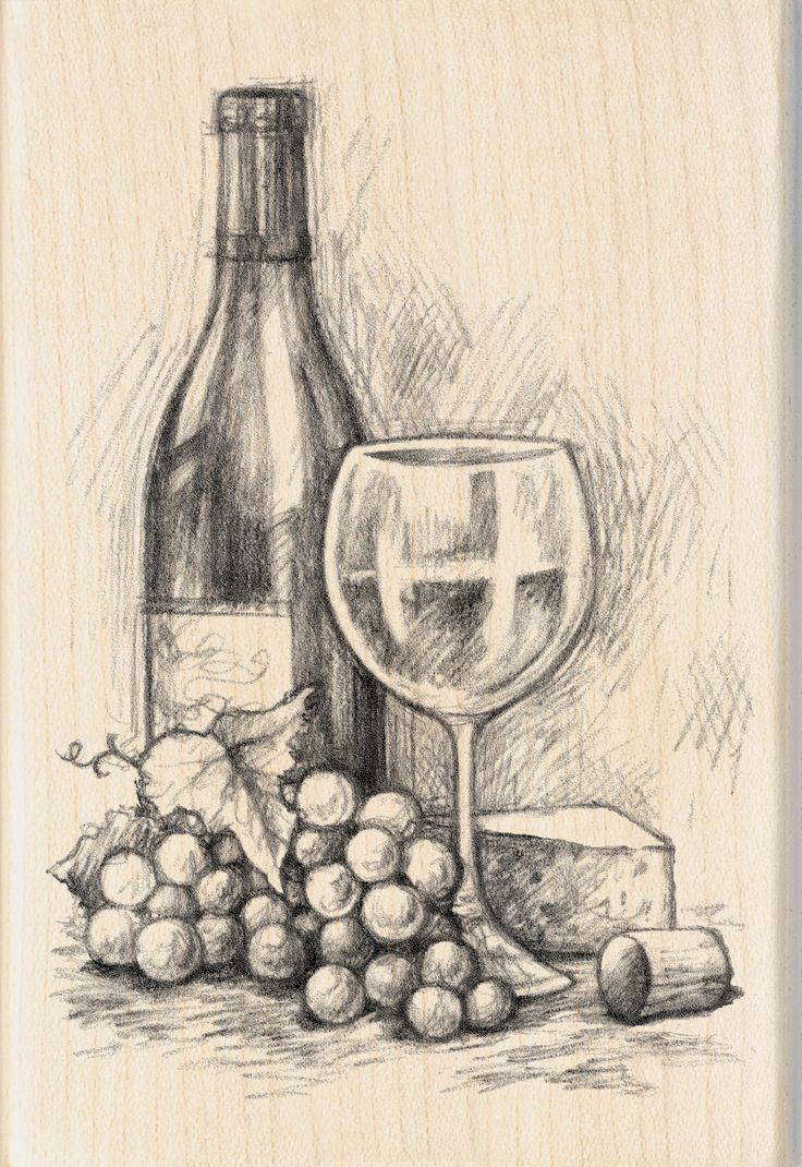 "Inkadinkado Mounted Rubber Stamp 4""X2.75""-Wine&CheeseInkadinkado Mounted Rubber Stamp 4""X2.75""-Wine&Cheese,"