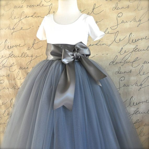 Hey, I found this really awesome Etsy listing at https://www.etsy.com/listing/208273107/grey-flower-girl-tutu-with-satin-bow