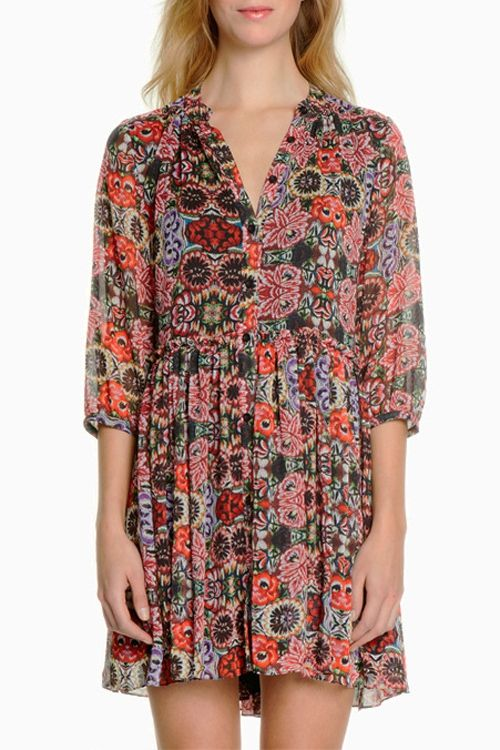 Flower Print V Neck Half Sleeve Dress