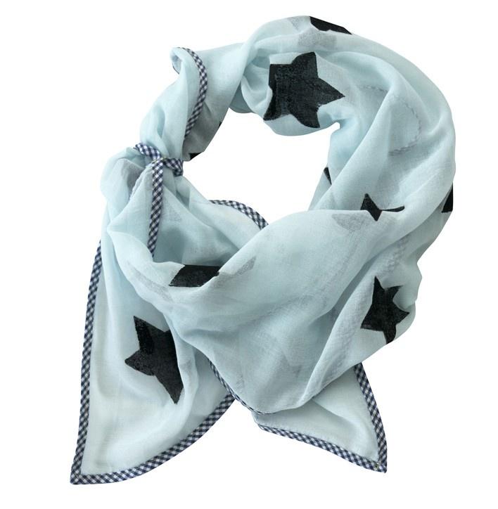 Sjaal met sterren voor kids lichtblauw & zwart