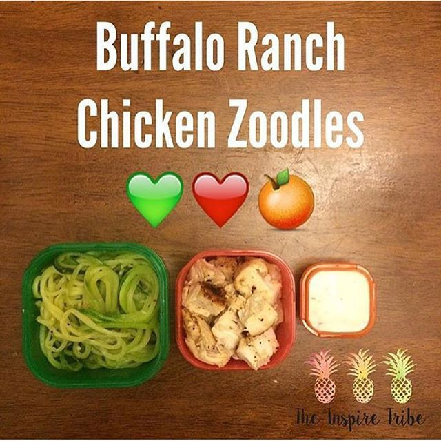One of my favorite 21 Day Fix Dinners! Added hot sauce to the ranch and it was incredible Zucchini noodles sautéed in garlic Chicken Yogurt Ranch dressing