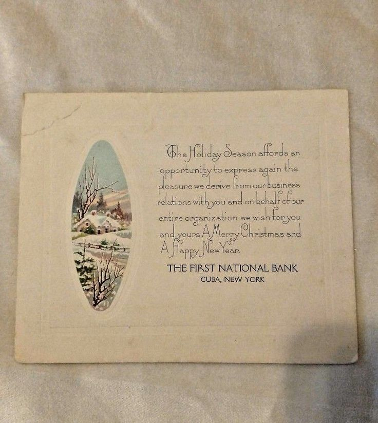 Vintage Business Christmas Card from 1st National Bank CUBA NY | eBay