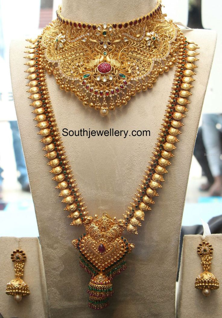 Bridal Gold Choker and Lakshmi Long Chain