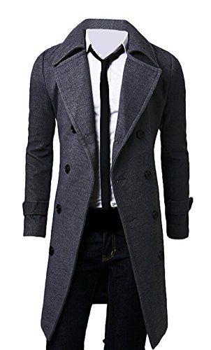 Brinny Homme Elegant Mince Double Boutonnage Pardessus Trench-Coat Hiver Chaud Veste Longue, Gris - M