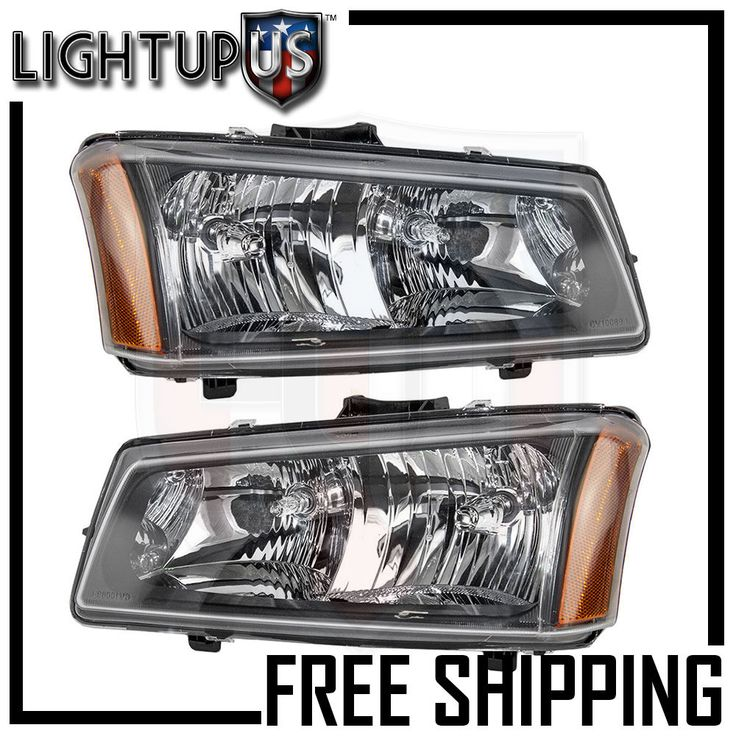Headlights Headlamps Pair Left Right Set 03-04 Chevy Silverado Avalanche