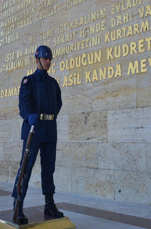 Guard at Ataturk's memorial tomb, Ankara [Turkey]