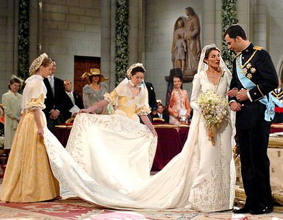 Most Amazing Royal Wedding Dresses Ever....Princess Letizia of Asturias....In 2004, the journalist married Felipe de Borbon (the heir apparent to the Spanish throne) in an off-white Manuel Pertegaz gown with a silk veil and a nearly 15 foot train. She donned the same diamond and platinum tiara that Queen Sofia wore at her wedding to King Juan Carlos.