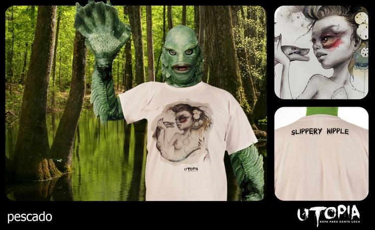 http://www.facebook.com/UtopiaLux Unusual tshirt design. #swamp #tshirt #monster #high #five #design #lookbook #sick #funny #utopia #marihuana #joint #fish #Nipple
