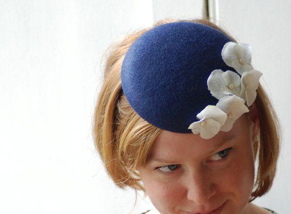 navy blue felt button / pillbox hat,HeatherFeatherDesign,£45.00