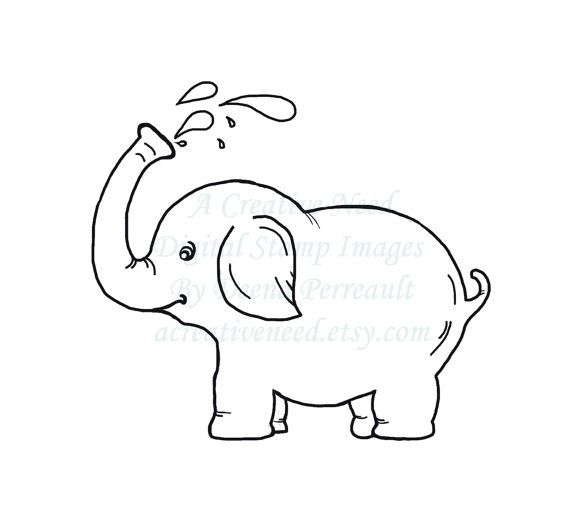 INSTANT download Baby ELEPHANT Digital Stamp by ACreativeNeed, $2.75