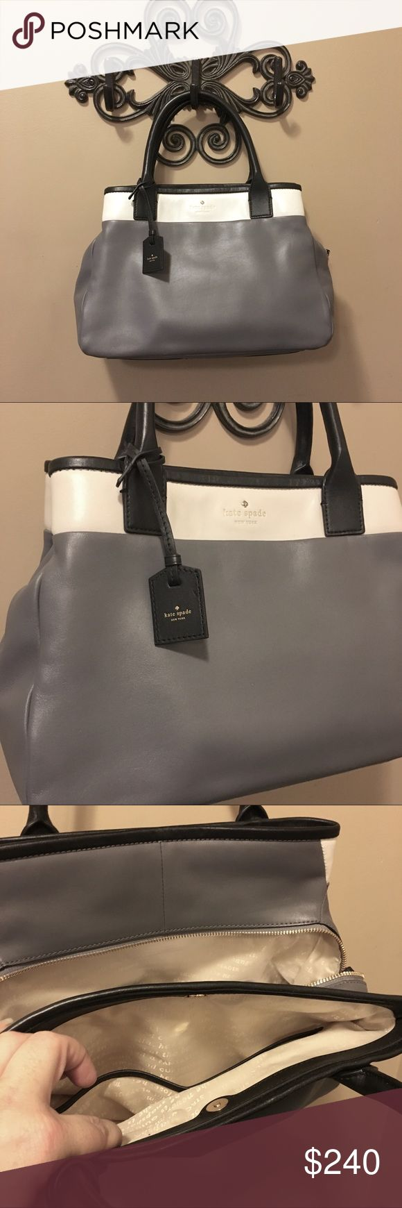 Kate Spade Branton Square mills colorblock satchel Kate Spade branton square mills color block satchel shoulder bag Excellent condition. Two corners have very small scuffs. Spot free interior.  A timeless, lightly-structured satchel shaped from rich leather gets a modern makeover with refined color blocking and a trio of interior compartments for easy organization. Rolled handles.  Magnetic-snap & top-zip closures. Exterior slip pocket. Interior zip, wall and cell-phone pockets. Signature…