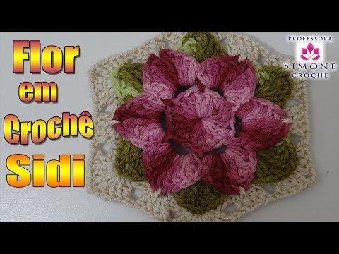 ▶ Passo a passo Flor de Crochê Sidi - Professora Simone - YouTube
